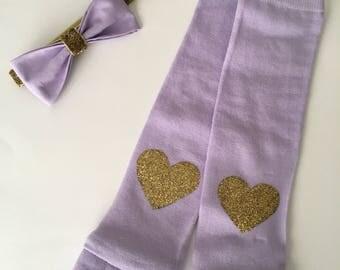 Gold Heart baby Headband and Leg warmer set |Leg warmer set| baby gift| Purple headband| purple leg warmers| first photoshoot