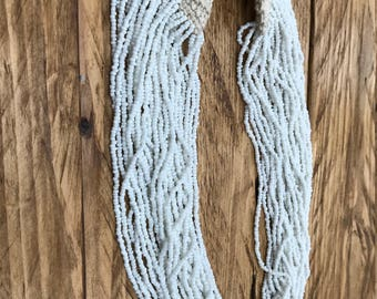 Boho beaded necklace, white beads, ethnic chic, crochet detail, handmade Indian jewelry