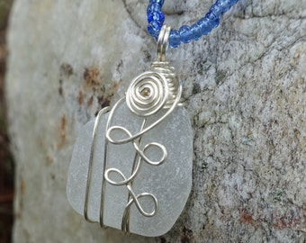 Genuine Sea Glass Wire Wrapped Pendant Necklace, Unique One of a Kind Gift for Her, Christmas Gift, Beach Jewelry, Ocean Jewelry Sea Tumbled