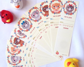 Set of 10 sheets of reading bookmark: cats