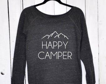 HAPPY CAMPER, wide neck sweatshirt
