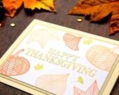 Thanksgiving Card - Handmade Thanksgiving Card - Happy Thanksgiving Cards - Autumnal Card - Giving Thanks Card - Heat Embossed Card