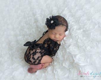 Newborn Photo Outfit, Newborn Lace Romper, Newborn Photo Romper, Newborn Photo Prop Girl, Newborn Photography Prop, Newborn Baby Girl Prop