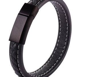 Sleek Black Modern Bangles Leather Bracelet Rock Star Punk Accessories