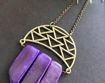 Purple Crackle Agate Necklace // Long Necklace // Purple Stone Necklace // Modern Necklace // Unique Long Necklace // Long Stone Necklace