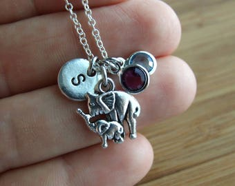 Elephant Necklace, Sterling Silver,Personalized, Mother Daughter Gift,Mother Son Necklace,Animal Necklace, Birthstone Necklace,Gift under 20