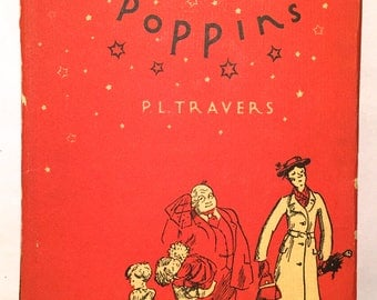 Mary Poppins - P. L. Travers (1946 HCDJ Illustrated 19th Printing) Children's Fairy Tale Fantasy Magical English Nanny Film Adaptation