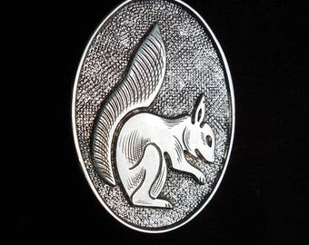 Vintage Hallmarked Silver Squirrel Brooch, Oval 925 Silver Brooch, 1990s Brooch