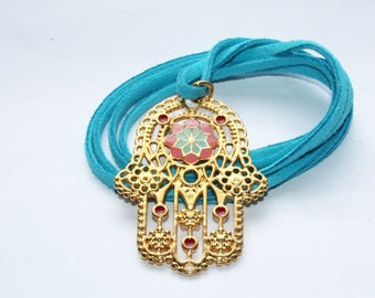 Necklace, necklace, necklace, Hamsa hand, gold with enamel, suede bracelet