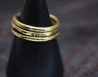 Brass stacking rings, gold stacking rings, witchy jewelry, strega fashion, stamped jewelry, boho jewelry, hammered ring, rustic jewelry
