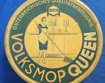 Rare German Volksmop Queen mop tin