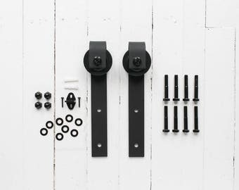 Sliding Barn Door Hangers (Black, Pair) - Ultra Quiet, Successfully Tested Beyond 100,000 Rolls - Extra Hangers Only, No Rail
