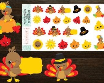 Kawaii Thanksgiving Turkey Stickers || Planner Stickers