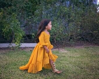 Mustard Yellow Dress for Girls & Toddlers, Boho Hi Lo Dress, Hi Low Dress, Bohemian Dress for Girls, Flower Girl Dresses, Junior Bridesmaid