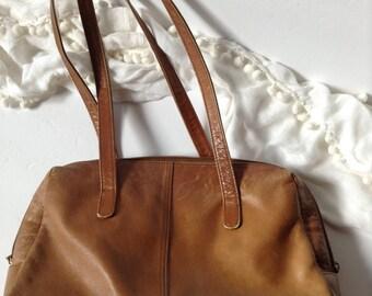 Distressed Stone Mountain Genuine Caramel Leather Satchel / East-West Shoulder Bag