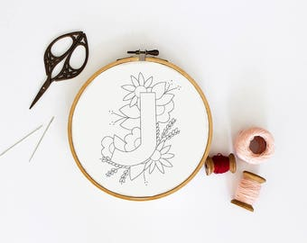 Letter J Embroidery Pattern, Floral Embroidery Pattern, PDF Embroidery Pattern, Initials Embroidery Pattern, Embroidery Design PDF Download