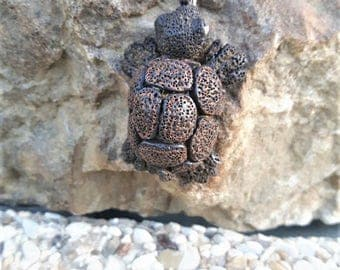 Brown turtle necklace made of polymer clay