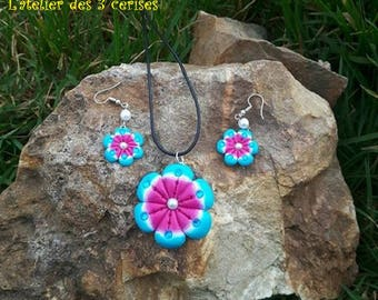 Blue and pink flowers with blue rhinestones set made with polymer clay