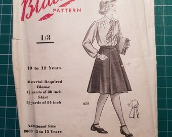 Vintage Sewing Pattern ~ Blackmore 8058 ~ Girls Blouse and Skirt ~ Size 10-12yrs
