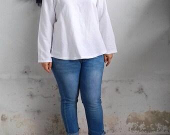 Linen Top / Basic Long Sleeves Linen Blouse, White Blouse