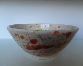 Red, White and Green Glazed Ceramic Bowl