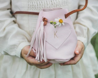 Girl's soft pink leather keepsake purse