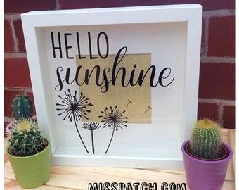 Hello Sunshine Dandilion Quote Box Frame