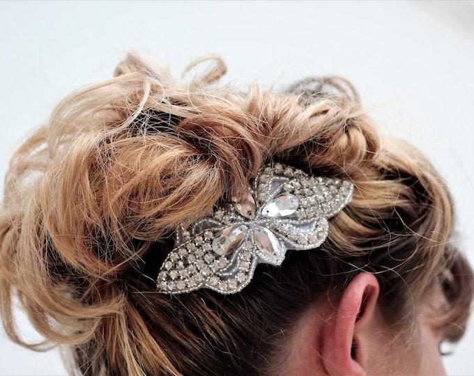 Silver Wedding Haircomb, Bridal Headpiece, Rhinestone Hairpiece, Hair Tiara, Hair Jewelry, Bridesmaid, Hair Accessory