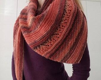 Knitted shawl triangular shawl Australian wool wrap Knitted multi colour scarf Fashion accessories gift for women