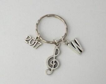 Treble clef music keyring, music note keyring, music lover keyring, music student or teacher gift, unisex back to school gift