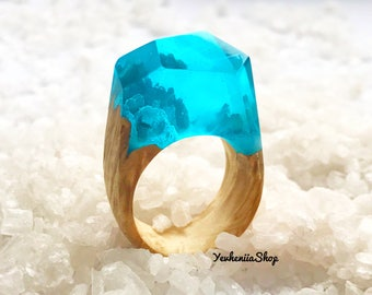 Inspirational wood resin ring blue ring for girlfriend birthday Wooden ring for anniversary gift Resin ring Wood nature ring Ring for women