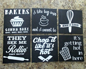 6 funny kitchen signs set, chalkboard, gift, housewarming gifts, they see me rollin, bakers gonna bake, chop it like its hot, whip it good