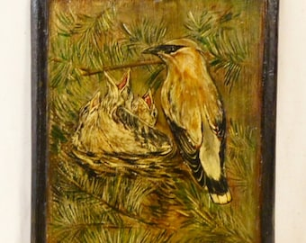 Bird oil painting on wooden plaque--signed Amy Scanlon