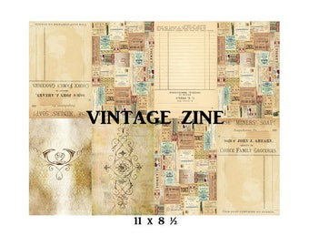 Vintage Zine, Folded Booklet, Junk Journal, Digital Zine, Mini Zine Collage