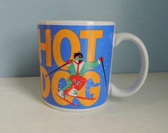 Vintage Skier Coffee Mug, Hot Dog Skier Mug, Vintage Russ Berrie Man Skiing Cup,Humorous Coffee Mug, Funny Winter Coffee Mug,Snow Skiing Mug