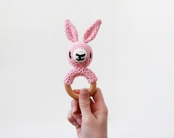 Crochet Pink Bunny Rattle Wooden Teether – baby toy, handmade to order