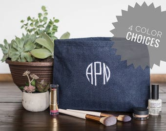 Personalized Bridal Party Gift Ideas, Bridesmaid Makeup Bags, Monogrammed Zipper Pouch Make Up Bag, Custom Gift Ideas for Her, 532429505