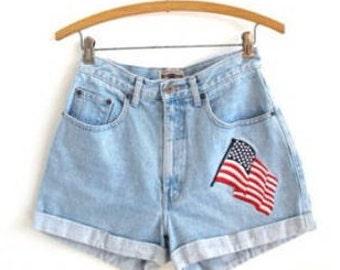 VINTAGE 1980's American Flag Denim Shorts