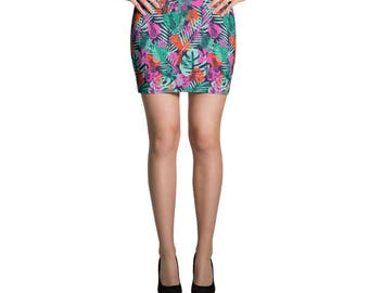 Pineapple Skirt, Tropical Skirt, Jersey Skirt, Tropical Print, Mini Skirt, Fitted Skirt, Bodycon Skirt, Pencil Skirt, Printed Skirt, Beach