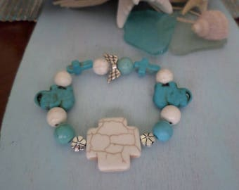 Beautiful Boho Beach Bracelet - Turqouise and White with Cross, Elephant and Silver Accents