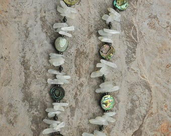 """Abalone shell disks and Quartz 18"""" necklace"""