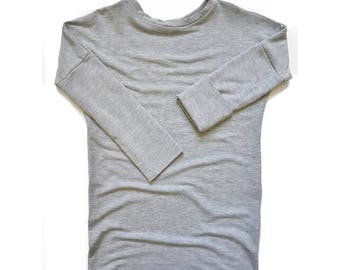 Grow with me Shirt [6-18 months] Bamboo | Heather Light Grey