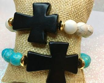 Black Cross Bracelet