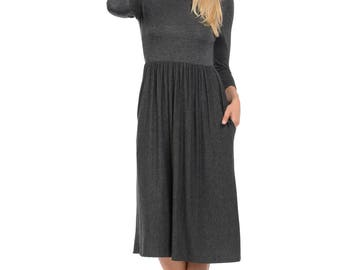Fit and Flare Midi Dress with Pockets Charcoal Solid