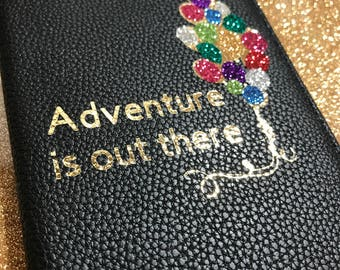 Adventure Is Out There with balloons RFID Passport Wallet   Vegan Leather passport cover