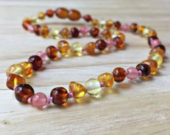Women's Amber Necklace - Adult amber necklace, womens amber necklace, amber necklace woman, pink amber necklace, baltic amber necklace women