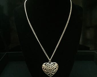 Silver Heart Pendant- two sided filigree pendant-gift bag included