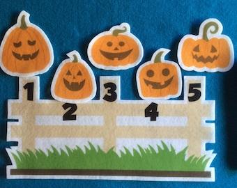 Felt stories 5  jack o lanterns//flannel stories pumpkins//felt stories Halloween//felt stories numbers//felt stories//flannel stories math
