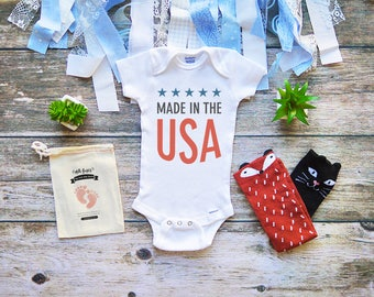 Made in the USA Baby Onesie - Fourth of July Baby Shirt - July 4th Independence Day Onesie - Born in the USA - Infant Newborn Clothes - M312