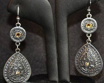 Silver dangle earrings with Citrine crystals (pierced)